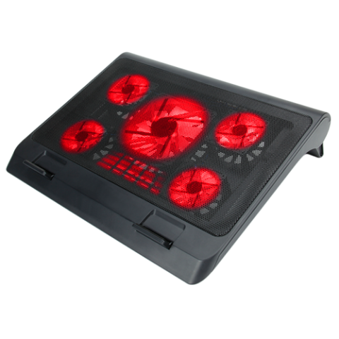 ENHANCE Laptop Cooling Stand with 5 LED Fans & Dual USB Ports for Data Pass Through - Red