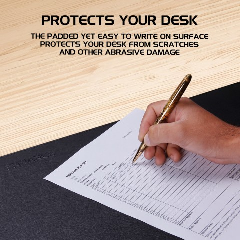 ENHANCE PU Leather Mouse Pad - Faux Leather Desk Protector - Office Desk Decor Home Office (Black)
