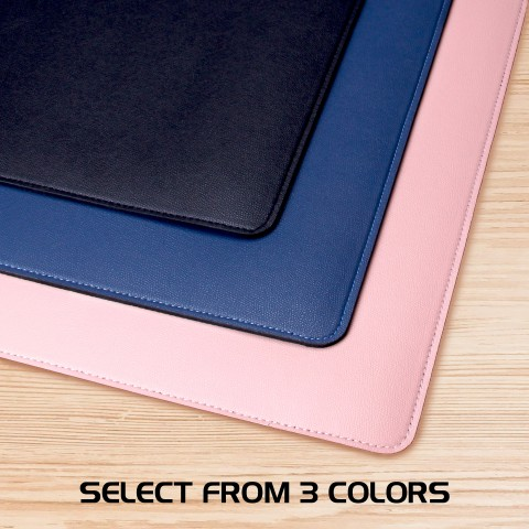 ENHANCE PU Leather Mouse Pad - Faux Leather Desk Protector - Office Desk Decor Home Office (Pink)