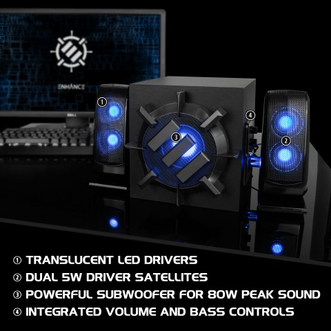 ENHANCE S21 Computer Speaker System - 2.1 Powered Subwoofer with 80W Peak, LED Satellite Speakers