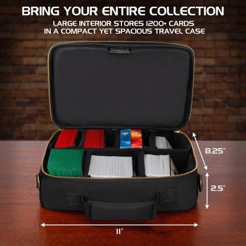 ENHANCE Trading Card Carrying Case for Magic the Gathering & Pokemon - Black